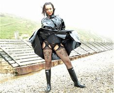 To see more of Malika go to Fetishmemoirs,com Girls In Suspenders, Stockings And Suspenders, Sexy Stockings, Suspender Tights, Wellies Rain Boots, Long Leather Coat, Leder Outfits, Wellington Boot, Sexy Latex