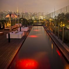 This pool is specifically for entertainment purposes. A part of a bar and restaurant, the pool is a bright crimson red on the rooftop of the Unique Hotel. It gives the guest a view of the city's skyline. It even has an underwater sound system and lounge.