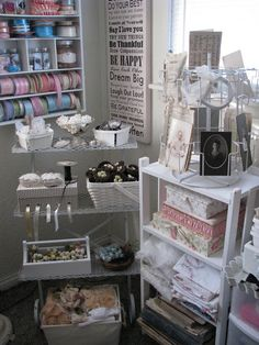 Craft room of Sandi from Wayside Treasures Blog. So much fun stuff to play with