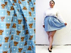 Plus Size - MODERN VINTAGE - Blue Teddy Bear Print Swing Mini Skirt by TheCurvyElle, $40.00