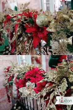 Guirnalda navideña en tonalidades rojo, verde y dorado. www.flores.com Fresh Flowers Online, Send Flowers, Flower Delivery, Gift Baskets, Christmas Wreaths, Holiday Decor, Gifts, Home Decor, Red
