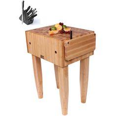 John Boos PCA1 Pro Chef Butcher Block 18 x 18 Table and Henckels 13-piece Knife Block Set (John Boos PCA1), White (Wood)