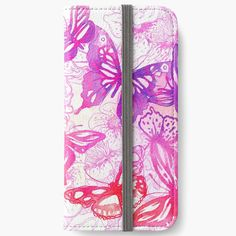 'Pink butterflies' iPhone Wallet by knovadesign Pink Butterfly, Butterflies, Phone Covers, Iphone Wallet, My Arts, Art Prints, Printed, Awesome, People