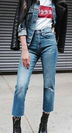 #cute #outfits Leather Jacket // Denim Jacket // White Tee // Jeans // Black Booties