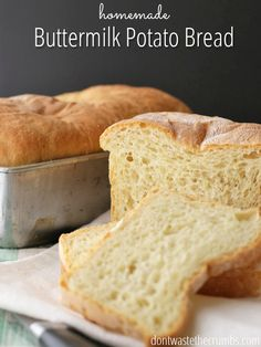 What a great way to use up leftover mashed potatoes, and the buttermilk makes this bread so moist! This is one of our favorite homemade bread recipes of all time. :: DontWastetheCrumbs.com