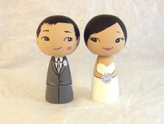 Asian Kiss on Cheek Wedding Cake Toppers by licoricewits on Etsy, $60.00