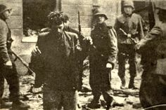 Warszawa, Poland, SS Waffen soldiers leading Jews caught during the subjugation of the ghetto uprising, 1943.