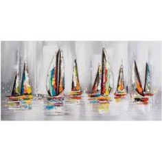 Dreaming of Sailing Away Painting Print on Canvas East Urban Home Acrylic Painting Canvas, Canvas Artwork, Canvas Art Prints, Painting Prints, Paintings, Large Canvas Art, Wood Canvas, Sailboat Painting, Abstract Wall Art