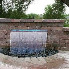 Love the Colorfalls for hardscape spaces! Ponds Backyard, Fire Pit Backyard, Backyard Waterfalls, Backyard Picnic, Home Fountain, Fountain Ideas, Outdoor Firewood Rack, Water Gardens, Garden Water