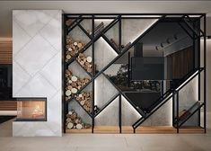 Modern fireplace with awesome wall design #moderninteriordesignoffice