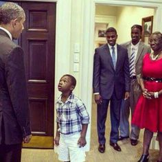 President Barack Obama. This photo is better than a Norman Rockwell painting in what it communicates