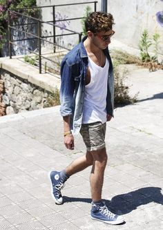 Go for a blue denim shirt and grey shorts for an easy to wear, everyday look. Why not add blue high top sneakers to the mix for a more relaxed feel?   Shop this look on Lookastic: https://lookastic.com/men/looks/denim-shirt-tank-shorts-high-top-sneakers-sunglasses/11362   — Brown Sunglasses  — White Tank  — Blue Denim Shirt  — Grey Shorts  — Blue High Top Sneakers