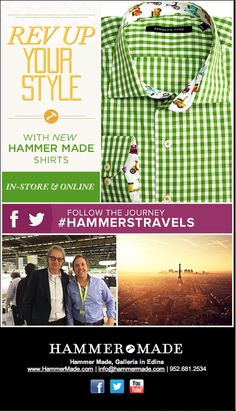 Rev Up Your Style - New Shirts from Hammer Made  Shop in-store or online at: www.hammermade.com/shirts.html