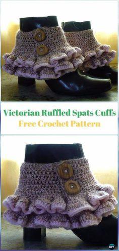 Crochet Victorian/Steampunk Ruffled Spats Cuffs Free Pattern - Crochet Boot Cuffs Free Patterns