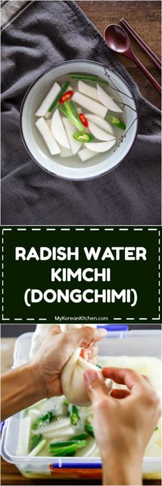 Learn how to make dongchimi (radish water kimchi) in an easy and quick way! This light and refreshing radish water kimchi is a perfect kimchi for your spring and summer weather! Easy Korean Recipes, Indian Food Recipes, Asian Recipes, Korean Dishes, Korean Food, Korean Menu, Vietnamese Food, Chinese Food, Korean Appetizers