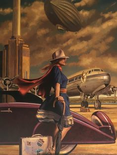 Peregrine Heathcote Still-Life Painting - The Full Value Of Joy 2016 American Impressionist Do you enjoy reading stories about people from different cultures finding love? Retro Art, Vintage Art, Deco New York, Arte Art Deco, Art Visage, Illustrations, Illustration Art, Airplane Art, Nose Art