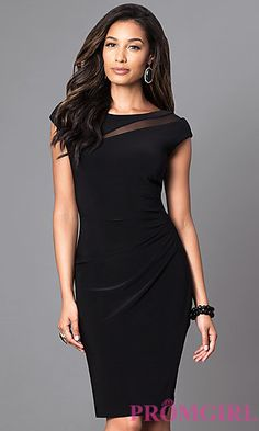 Knee-Length Black Cap-Sleeve Day-to-Night Dress ae153d777b80