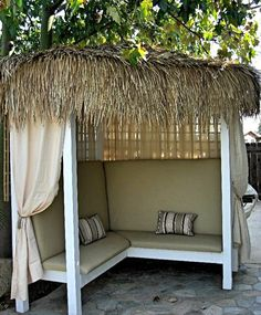 outdoor cabana seating for some extra shade.
