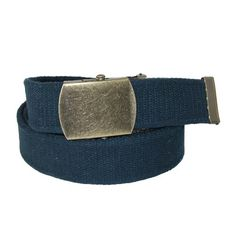 CTM Cotton Web 1.5 Inch Adjustable Military Buckle Belt, Navy Made by #CTM Color #Navy. Vintage Style Military Belt by CTM�. Cotton Web Fabric. Antiqued brass buckle and tip. Adjustable to 48 inches. Can cut to fit