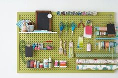 Craft supply peg board for storage room