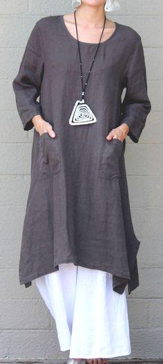 ET'LOIS USA  Linen  UMA TUNIC  Long  A-line w/ Pockets Dress  S M L XL  TAUPE #ETLOIS #Tunic #Casual
