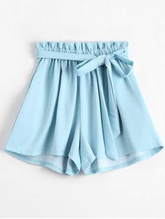 Smocked Belted High Waisted Shorts - BLUE ONE SIZE