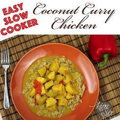 Slow Cooker Coconut Curry Chicken over Quinoa. An easy way to get a low carb, high protein meal on the table. with very little work since I used the Crock Pot. This recipes includes FosterFarmsOrganic chicken so I feel good about serving it to my family. Slow Cooker Recipes, Crockpot Recipes, Hamburger Recipes, Paleo Recipes, Easy Recipes, Real Food Recipes, Delicious Recipes, Yummy Food, One Pot Dinners