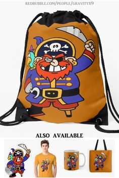 Gym Backpack, Backpack For Teens, Drawstring Backpack, Pirate Day, Pirate Theme, Back To School Shopping, High School, Pirate Illustration, Pirate Parrot