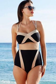 High Waist Black/Bronze Swimsuit Features: - Closure Type: None - Material: Polyester - Color: As Shown - Size: S, M, L *Special Item Product - See Delivery Tab For Shipping And Sizing Details