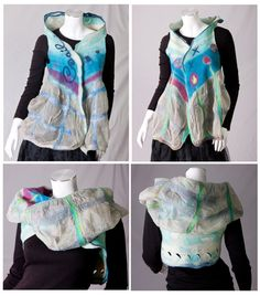 Ocean blue woman  art clothing , convertible vest / bolero / shrug , nuno felted  masterpiece , sailing summer breeze / floral dots / S to L. €295,00, via Etsy. Beautiful, unique summer ocean inspired fiber art garment for great compfy feeling all year long.     More than a garment this fiber art vest is a joyful fairy painting.   Only high-quality materials (silk and smoothest merino wool) were used to created by hand in wet felting techniques.