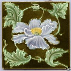 Art Nouveau Majolica - LILAC & YELLOW FLOWER - 1890 & 1910 - Ceramic Tile
