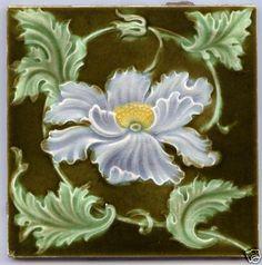 Art Nouveau Majolica - LILAC & YELLOW FLOWER - 1890 & 1910 - Ceramic Tile