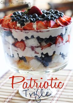 Patriotic Trifle made with Duncan Hines Angel Food cake mix by Chef in Training.--I need to get a trifle dish! Trifle Dish, Trifle Desserts, Trifle Recipe, Trifle Cake, Fruit Trifle, Patriotic Desserts, 4th Of July Desserts, Just Desserts, Memorial Day Desserts