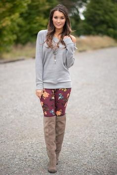 Gorgeous Fall Florals Make For the Perfect Wine Legging These super soft and stretchy leggings are a must have for fall. With gorgeous rich fall colors. $37