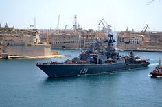 Vice Admiral Kulakov, Udaloy I class ship leaving valetta harbor.