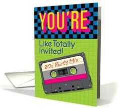 80s Theme Party Invitation with Cassette Tape card (1103678)