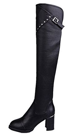 1a01f6ed637 QINGYUAN Womens Fashion Rivets Riding Thigh High Over the Knee Boots US 75  Black   More