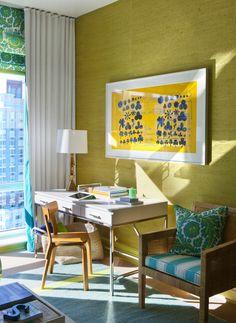 Terry Cloth Curtains, Warhol Print, & Lorin Marsh Desk in a Fun, Modern, & Eclectic Living Space (Scott Sanders)