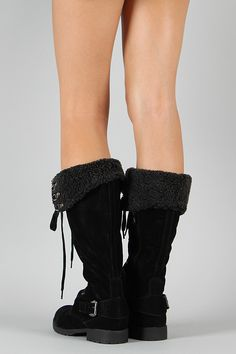 AL-2 Shearling Lace Up Knee High Boot