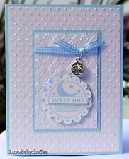 Handmade Stampin Up SWEET ONE card for precious baby boy  w/ footprint charm
