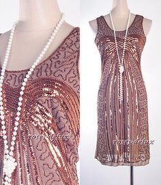 Gatsby 1920's Flapper Dress Brown Clubwear Sequin Downton Abbey Art Deco RD 3245