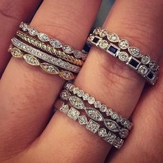 Stacking diamond bands perfect for weddings, anniversaries, birthdays - everything!