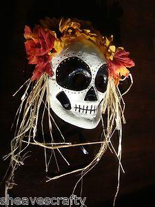 Day of The Dead Skeleton Halloween Mask or Decoration Dia de Los Muertos   eBay