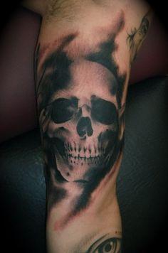 black-and-white-skull-sleeve-tattoo-design Skull Sleeve Tattoos, Best Sleeve Tattoos, Tattoo Sleeve Designs, Tattoo Designs Men, Design Tattoos, Diy Tattoo, Tattoo Fonts, Finger Tattoos, Body Art Tattoos