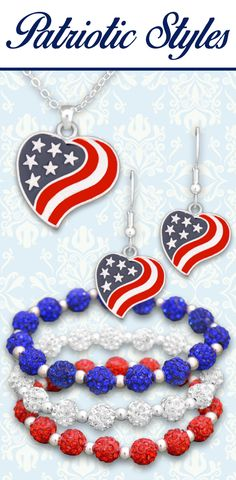 Patriotic jewelry - $9.98 each!  Perfect for July 4th, Memorial Day, Veteran's Day, Olympics, Political Rallies, and more! // Find our sparkle stretch bracelets here: http://charmingcollectables.net/fashion/stretch-bracelets/colors/