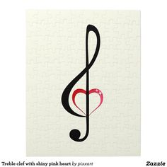Treble clef with shiny pink heart jigsaw puzzle