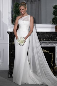 Isn't this one shoulder wedding dress gorgeous!