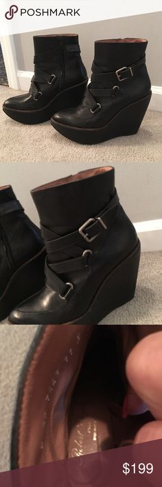Robert clergerie wedge boots Funky and stylish ! Paired with leggings or skinny jeans! In excellent condition.. true to size Robert Clergerie Shoes Ankle Boots & Booties