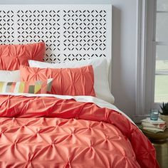 Organic Cotton Pintuck Duvet Cover + Shams - Bergamot from West Elm. Shop more products from West Elm on Wanelo. Coral Bedding, Bedding Sets, Colorful Bedding, Home Bedroom, Bedroom Decor, Bedroom Curtains, Bedrooms, Bedroom Ideas, Sweet Home