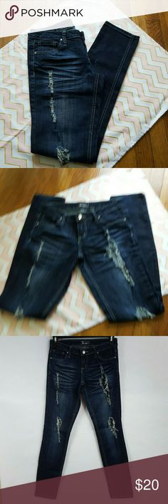 Soundgirl Destroyed Distressed Skinny Jeans Soundgirl Destroyed Distressed Skinny Jeans Size 9. In nice condition.  Made of 99 % cotton, 1% Spandex  Measurements  Waist 15 inches laying flat across  Inseam - 32 inches Length- 39 inches long  A91 Soundgirl Jeans Skinny